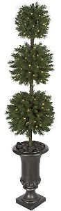Artificial Topiary Trees, Outdoor Topiary, 65 inch Triple Ball Topiary with Clear LED Lights